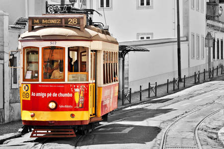 Colorful tram in Lisbon