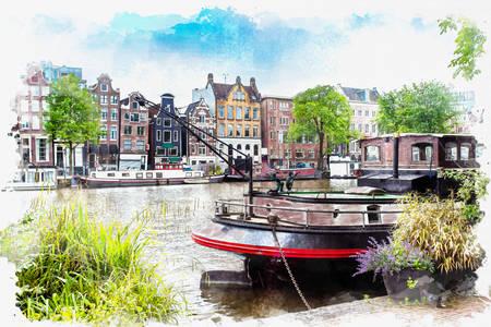 Акварелен пейзаж на Амстердам