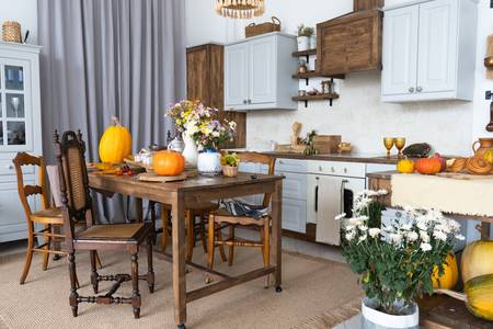 Autumn interior in the kitchen