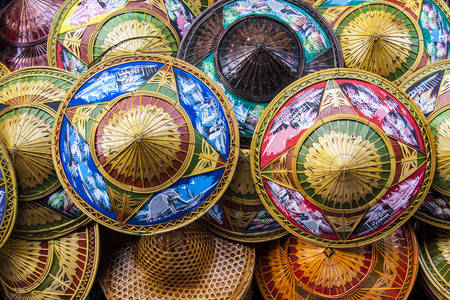 Colorful bamboo hats