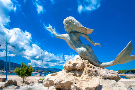 Sculpture of a mermaid on the island of Poros