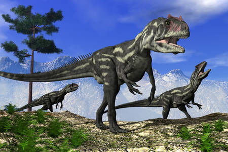 Allosaurus in the background of mountains