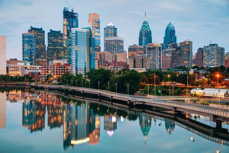 Philadelphia in the evening