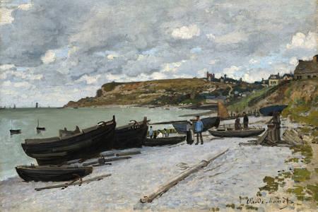 "Claude Monet: ""Saint-Adresse, fishing boats on the shore"""