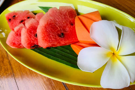 Watermelon on a yellow platter