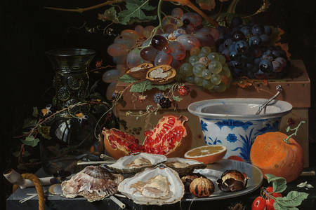 "Abraham Mignon: ""Still Life with Fruit, Oysters, and a Porcelain Bowl"""
