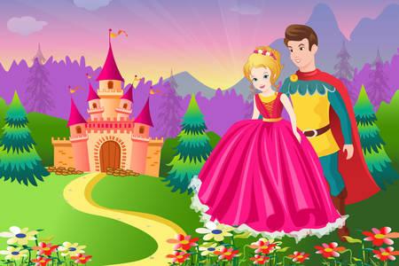 Książę i księżniczka w pobliżu zamku