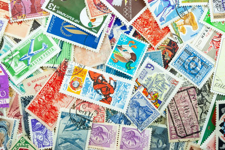 Colorful stamps of different countries