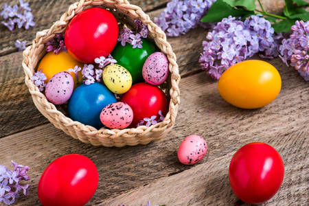 Easter eggs and lilacs