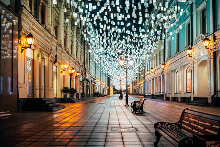 Stoleshnikov lane in the evening lights