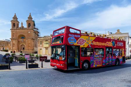 Tourist bus in Valletta