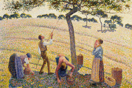 "Camille Pissarro: ""Picking apples in Eragny-sur-Epte"""