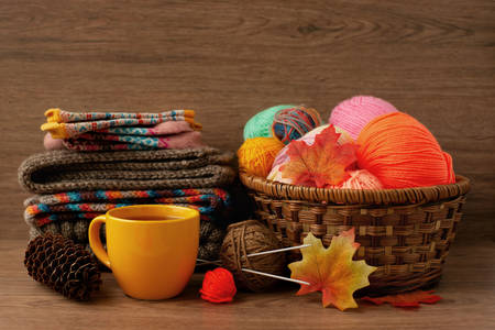 Knits and yarns in a basket