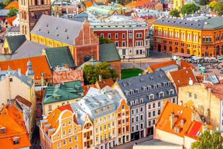 Bâtiments colorés à Riga