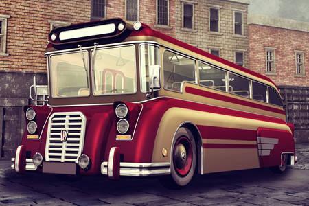 Autobuz roșu vintage