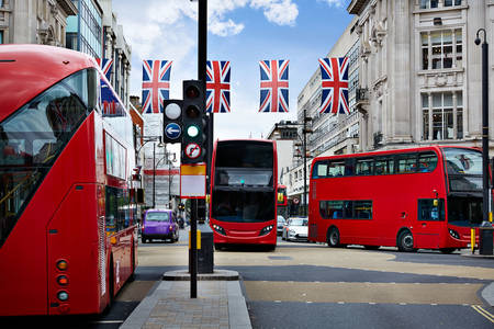 Buses on the streets of London