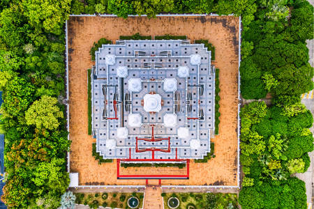 Top view of Wat Asokaram temple
