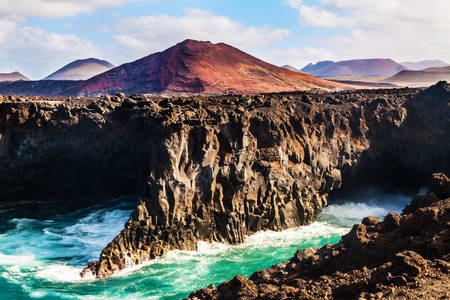 Los Hervideros volcanic massif