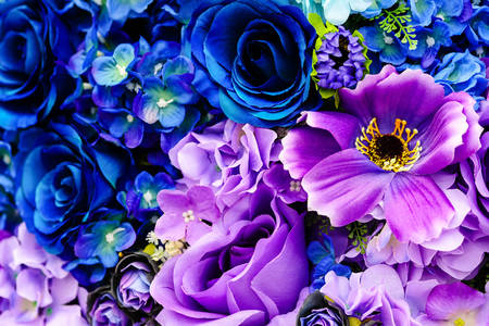 Bouquet of blue and purple flowers