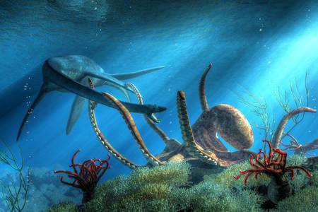 A giant octopus caught a Styxosaurus