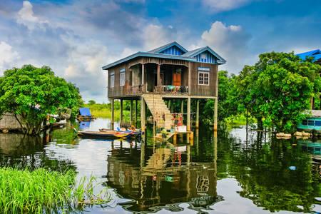 Houses on Tonle Sap Lake