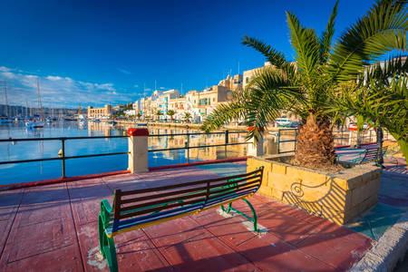 Uitzicht op de jachthaven in Birgu