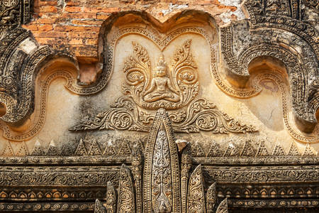 Carved bas-relief on the temple in Bagan