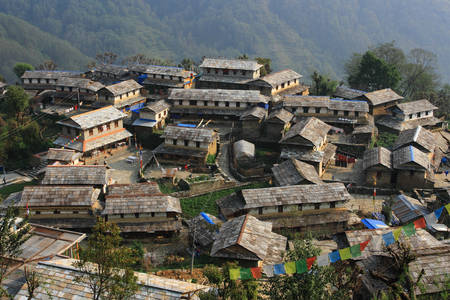 Gandruk village in the Himalayas