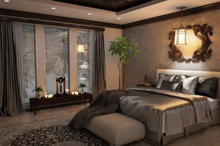 Interior do quarto em cinza