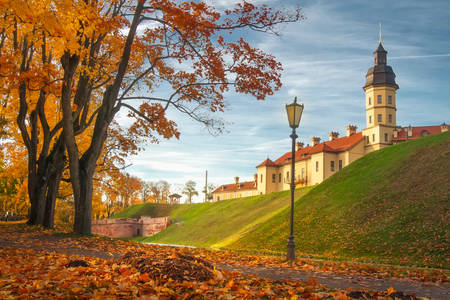 Nesvizh castle in an autumn evening