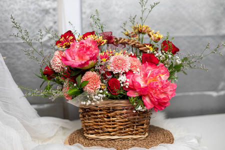 Flower arrangement with peonies