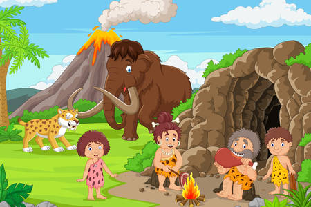 Cavemen and prehistoric animals