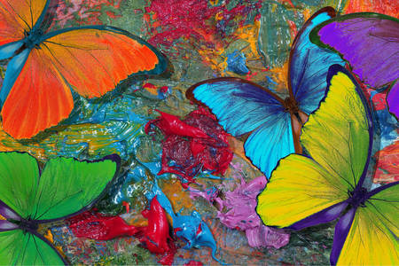Painting with multicolored butterflies