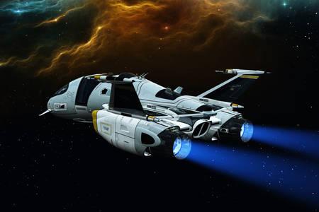Spaceship in flight