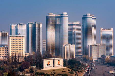 Skyscrapers in the center of Pyongyang