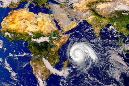 Hurricane on weather map