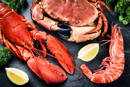 Crab, shrimp and lobster