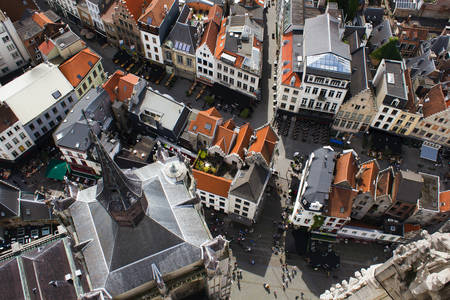 Roofs of the port city of Antwerp