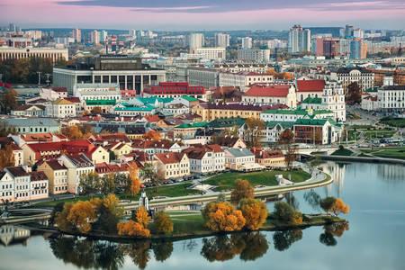 Panoramiczny widok na Mińsk