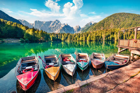 Boats on Lake Lago di Fusine