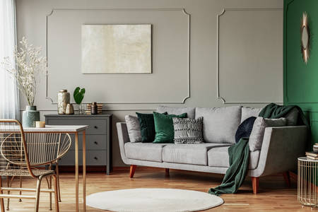 Gray-green interior design