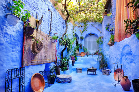 Street color in Chefchaouen