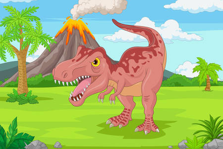 Tyrannosaurus at the volcano