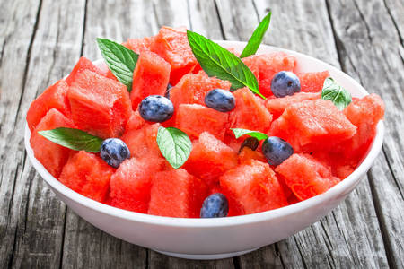 Watermelon and blueberry salad