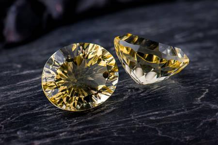 Yellow sapphire on a dark background
