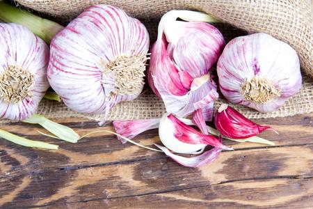 Garlic on burlap