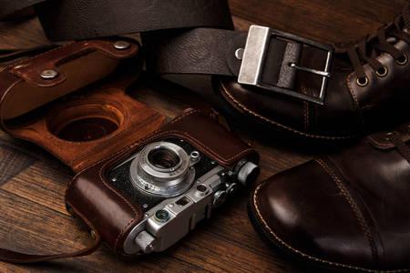 Camera in a leather case