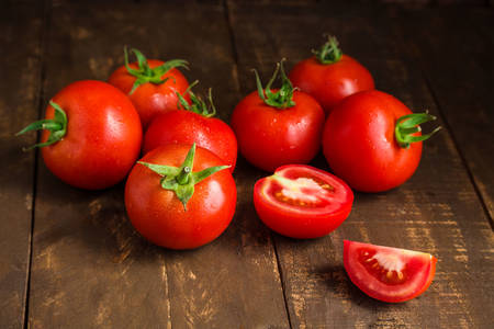 Ripe tomatoes on the table