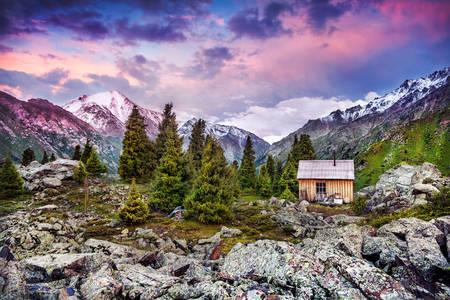 House in the mountains of Zailiyskiy Alatau