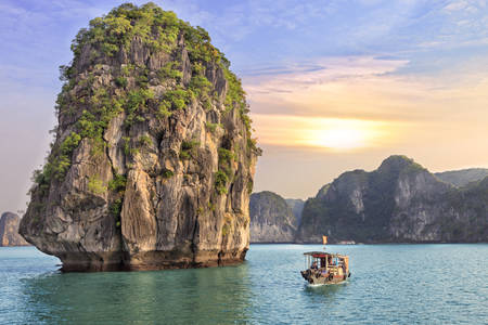Sunset among the rocks of Halong Bay